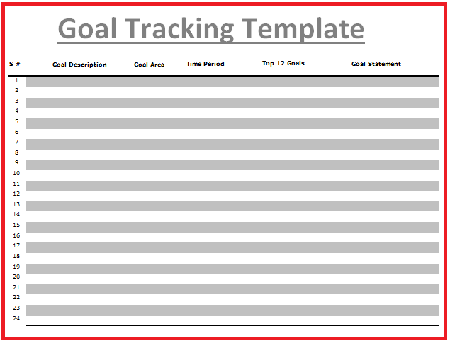 Goal Tracking Templates  Wordstemplates    Template