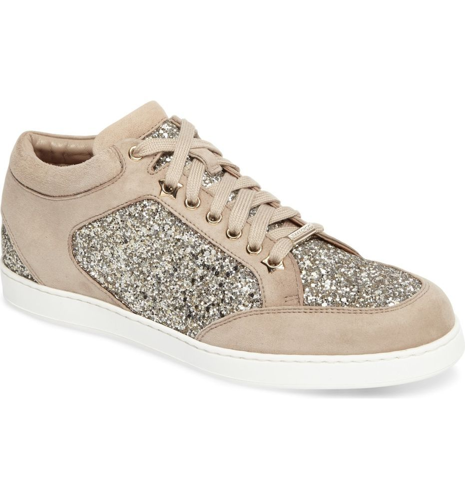 b1928a5e021 NIB Jimmy Choo Miami Chai Shadow Glitter Fabric Suede Glitter Sneakers 6.5  36.5  JimmyChoo  Trainers