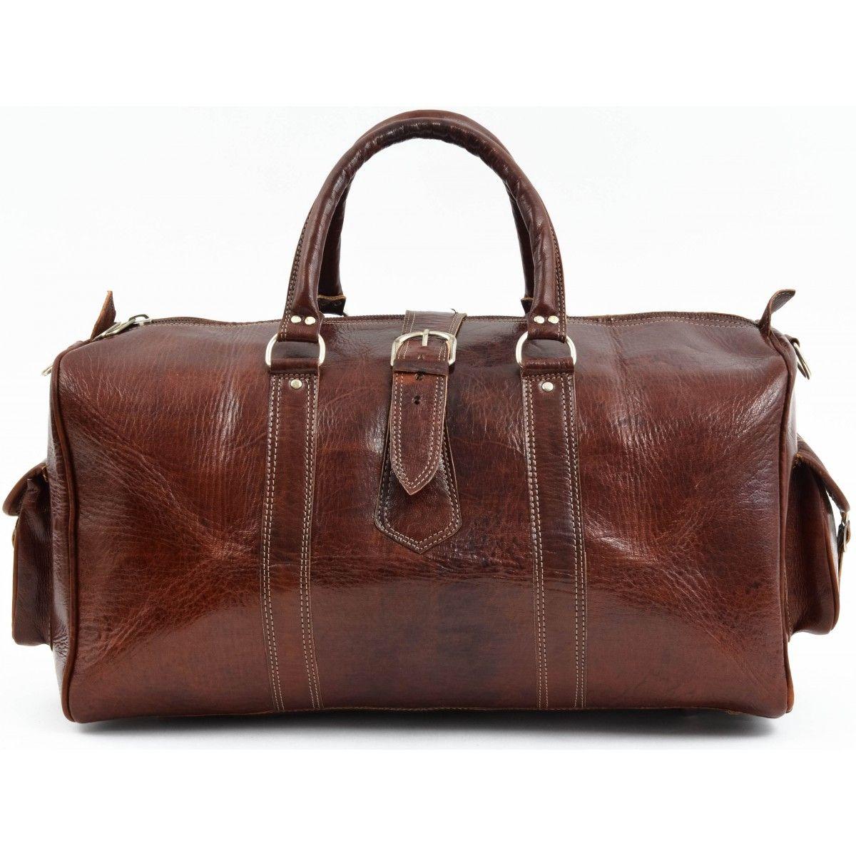 Unisex Reisetasche Sporttasche Weekender Braun Reißverschluss