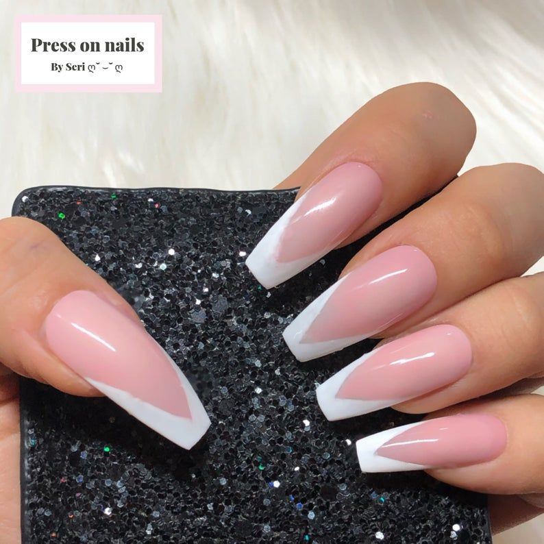 V Cut French Gel Nails - Hand Painted Press On Nai