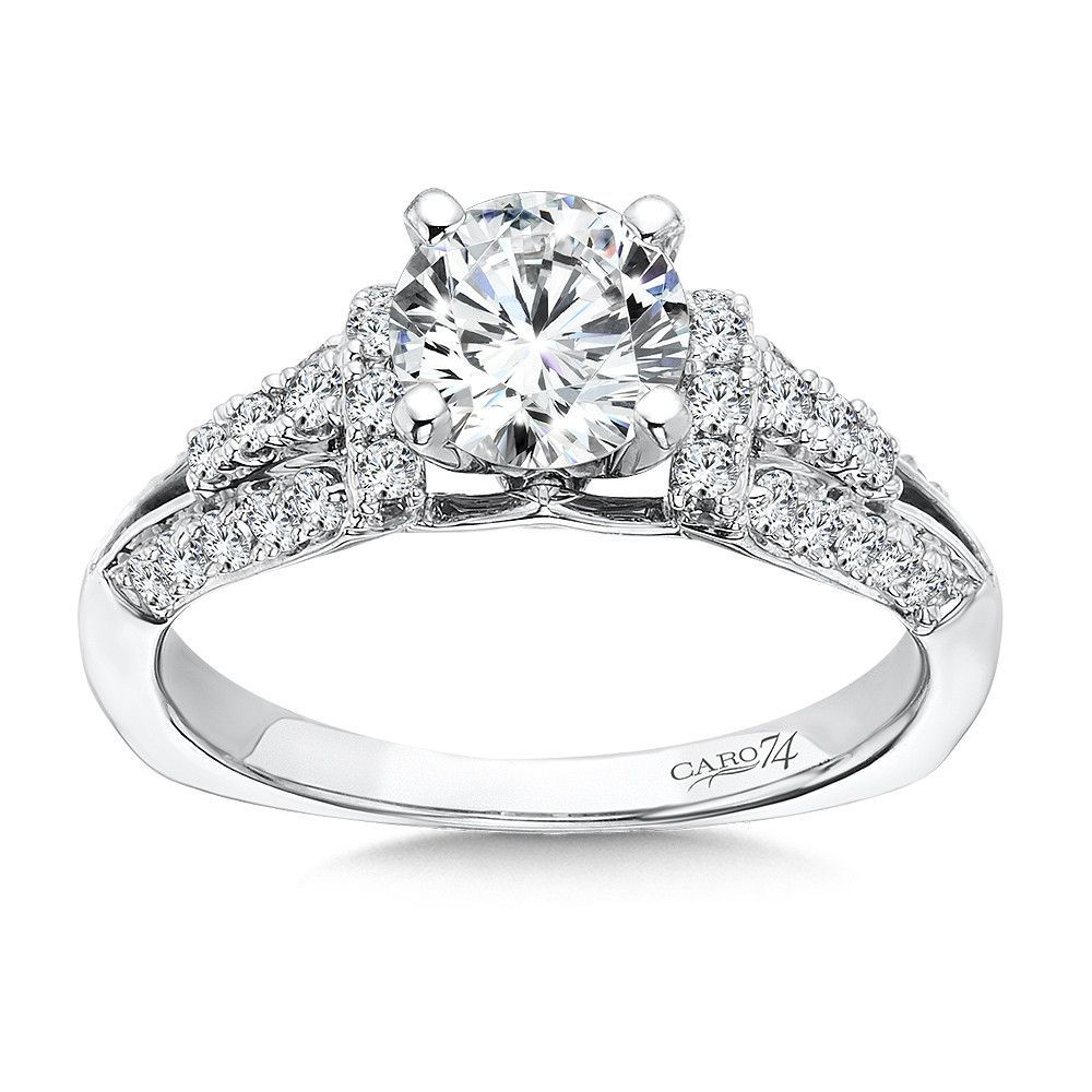 Caro 74 - 14K White Gold 0.39 ct Diamond Engagement Ring Setting CR378W-IC74D