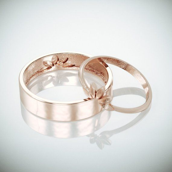Rose Gold Marquise Wedding Rings Set   Unique solid 14k rose gold wedding rings in marquise leaf style   His and Hers wedding rings