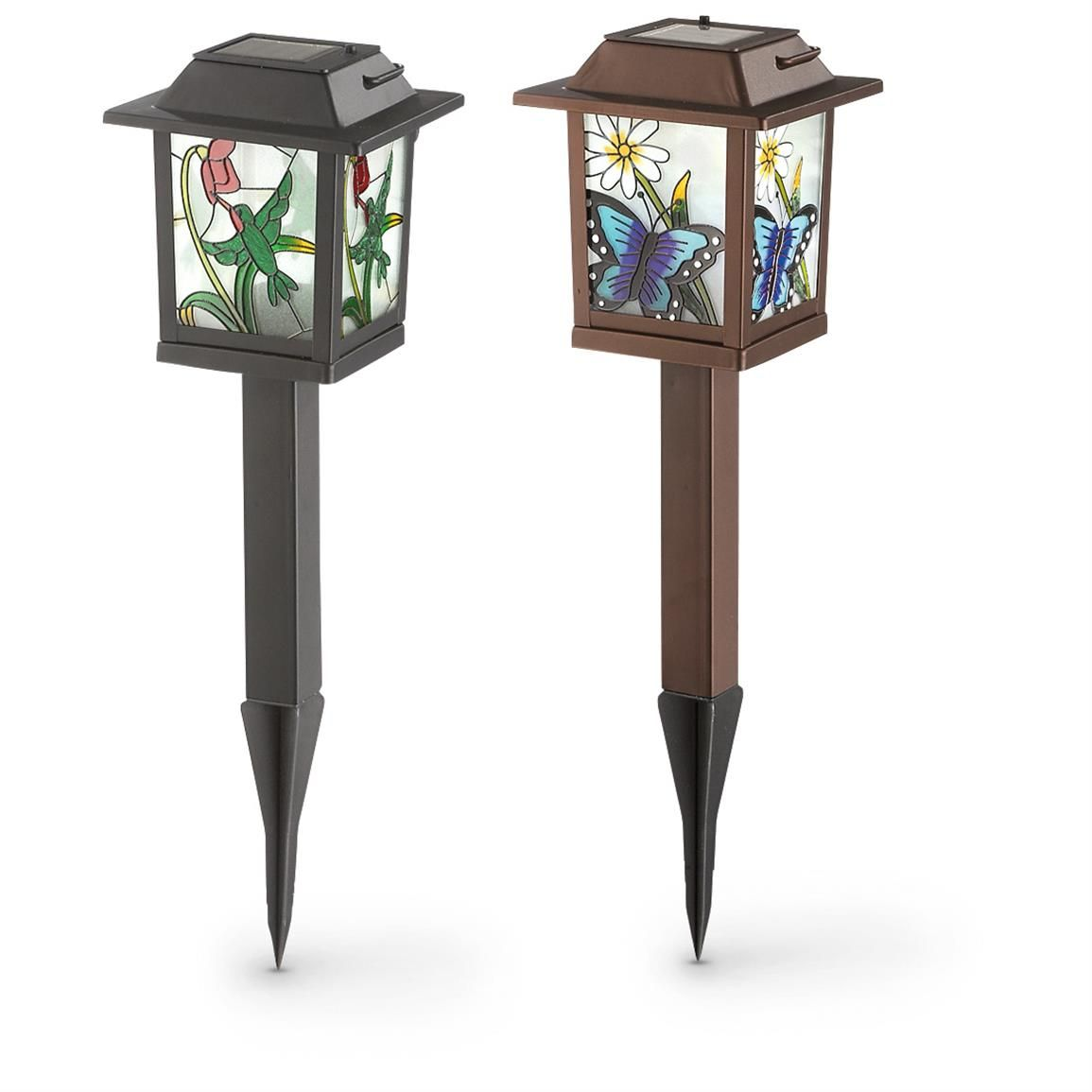 2 Stained Gl Look Solar Lanterns Add A Gorgeous Glow To Your Patio Garden Or Driveway
