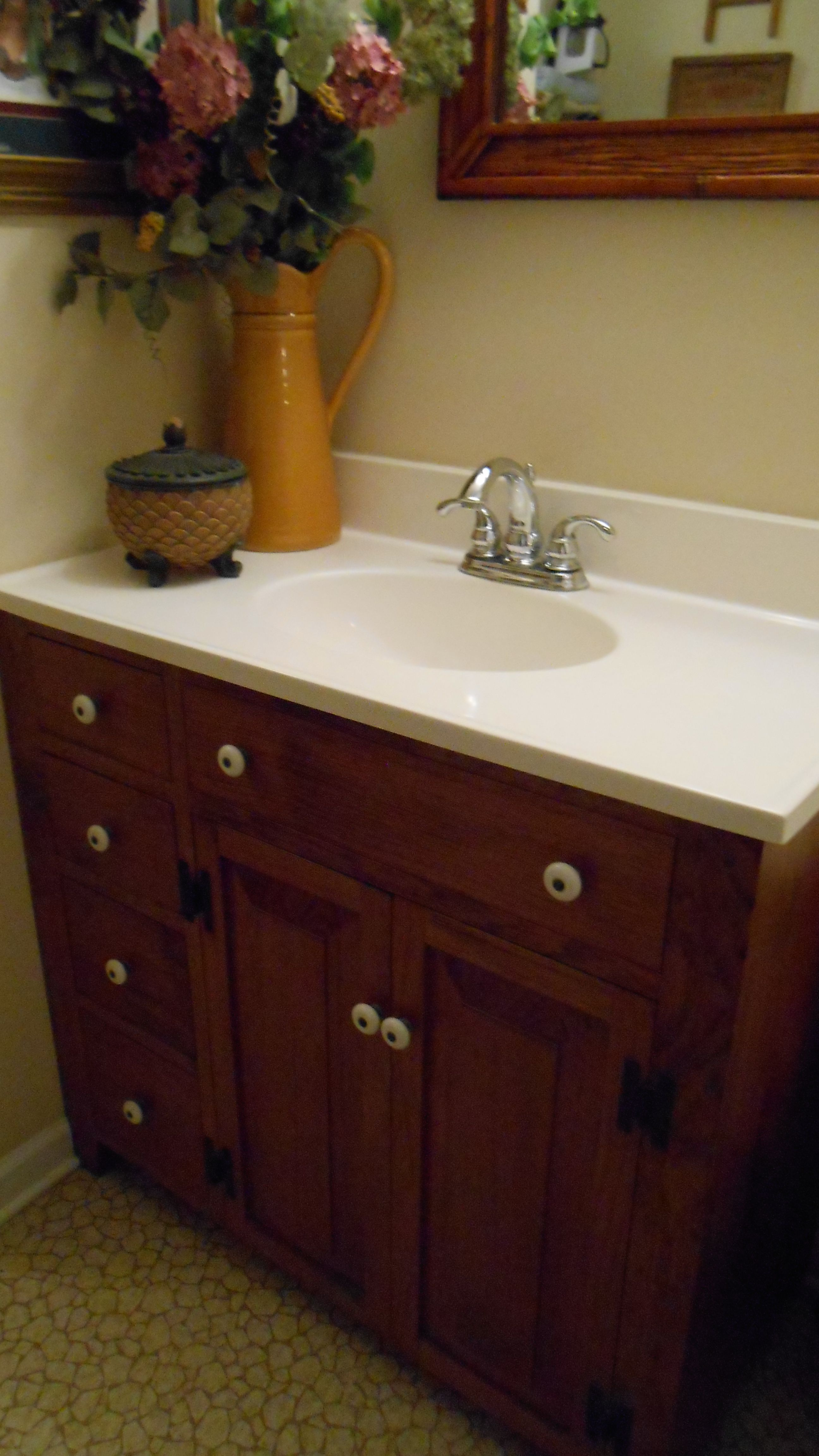 "36"" #3 Stained Bathroom Vanity Base Is Solid Wood And"