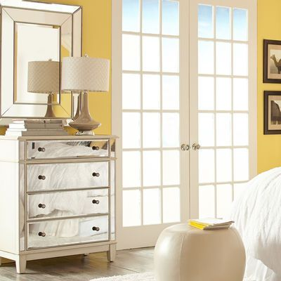 Hayworth Mirrored Antique White Chest Drawers, Storage ideas and