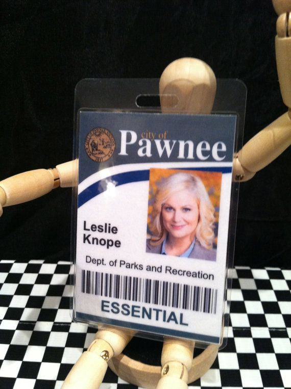 leslie knope city of pawnee id badge dept of parks and recreation halloween costumes. Black Bedroom Furniture Sets. Home Design Ideas