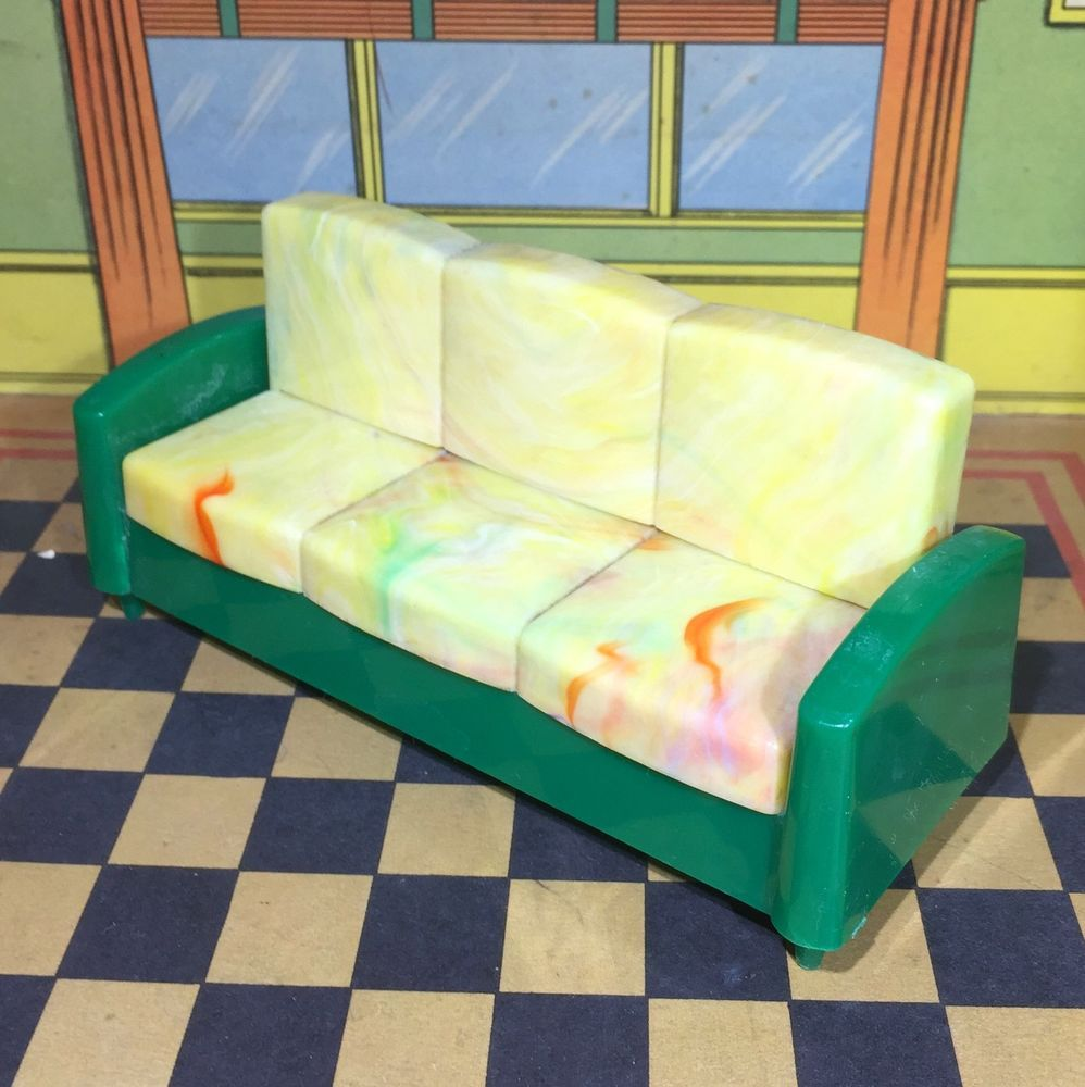Ideal GORGEOUS MARBLEIZED SOFA BED (SLEEPER) Vintage Dollhouse Furniture 1: 16 #Ideal