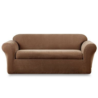 Sure Fit Stretch Metro Brown Two Piece Sofa Slipcover Bedbathandbeyond Com Slipcovered Sofa Sure Fit Cushions On Sofa