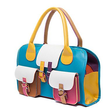 Korea Fashion Women's Contrast Color PU Leather Handbag Tote Bag Shoulder Bag