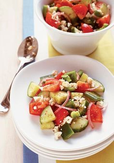 Easy Greek Tomato and Cucumber Salad — How easy? To make this recipe, combine ingredients. And in just 10 minutes of time, you have a Healthy Living salad bursting with Mediterranean flavor. Opa!