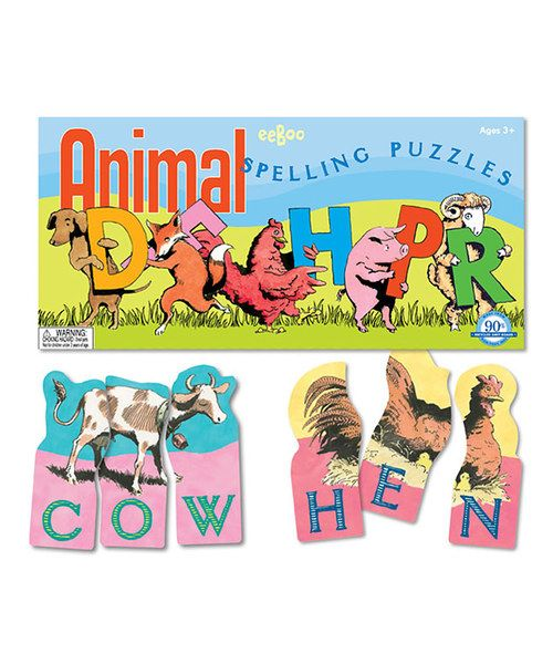 teach a little one how to spell animal names with these fun puzzles