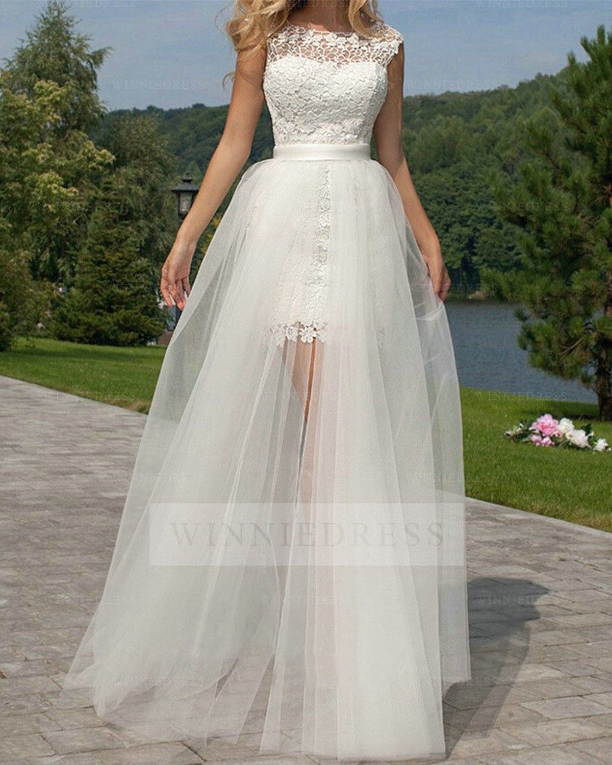 Shop discount Two In One High Low Lace Wedding Dresses