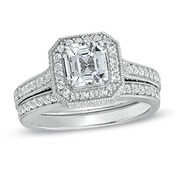 Zales 6.0mm Princess-Cut Lab-Created White Sapphire Fashion Ring Set in Sterling Silver - Size 7