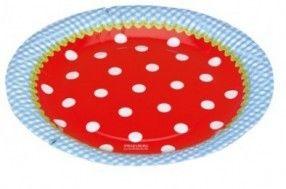 Kartonnen bord rood met witte stippen