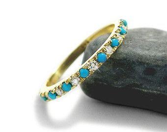 Silver Turquoise Ring Anniversary Half By JonJonJewel On Etsy