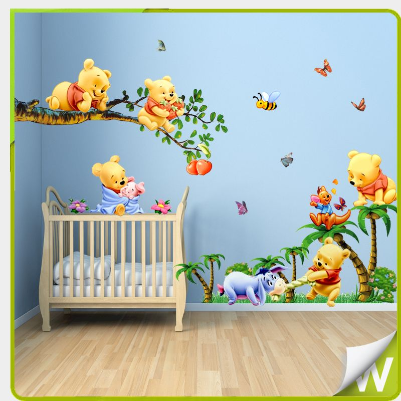 winnie the pooh full bedroom mural details about winnie the pooh wall stickers butterflies. Black Bedroom Furniture Sets. Home Design Ideas