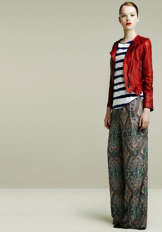 printed silk wide leg... with stripes and RED leather jacket.