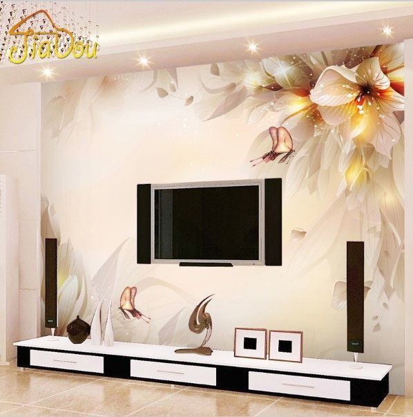 3d Modern Wall Mural Minimalist Floral Butterfly Design Wallpaper Bedroom Wall Paint Living Room Tv Wall Tv Wall Design