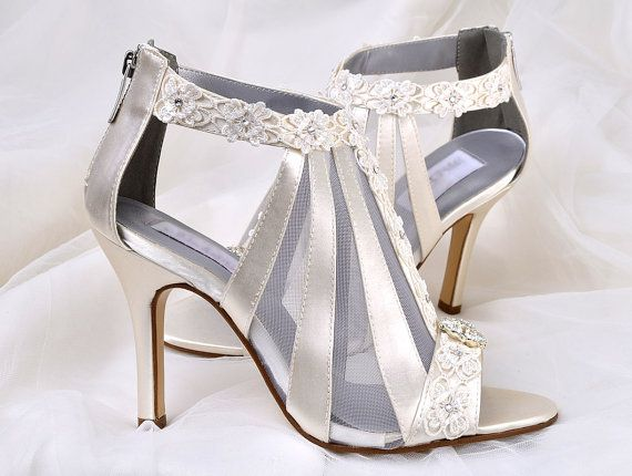22f91b033d5ae Wedding Shoes - Vintage Wedding Lace - 3.5