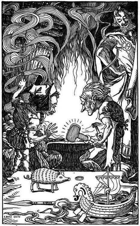 brokkr and eitri or sindri the third gift an enormous hammer