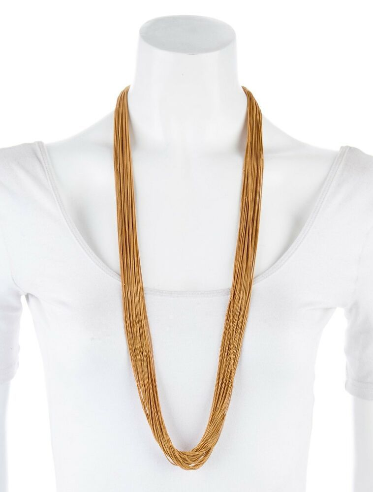 Gucci Bamboo Pendant Necklace Gold Plate 18K Designer Multi Strand Long