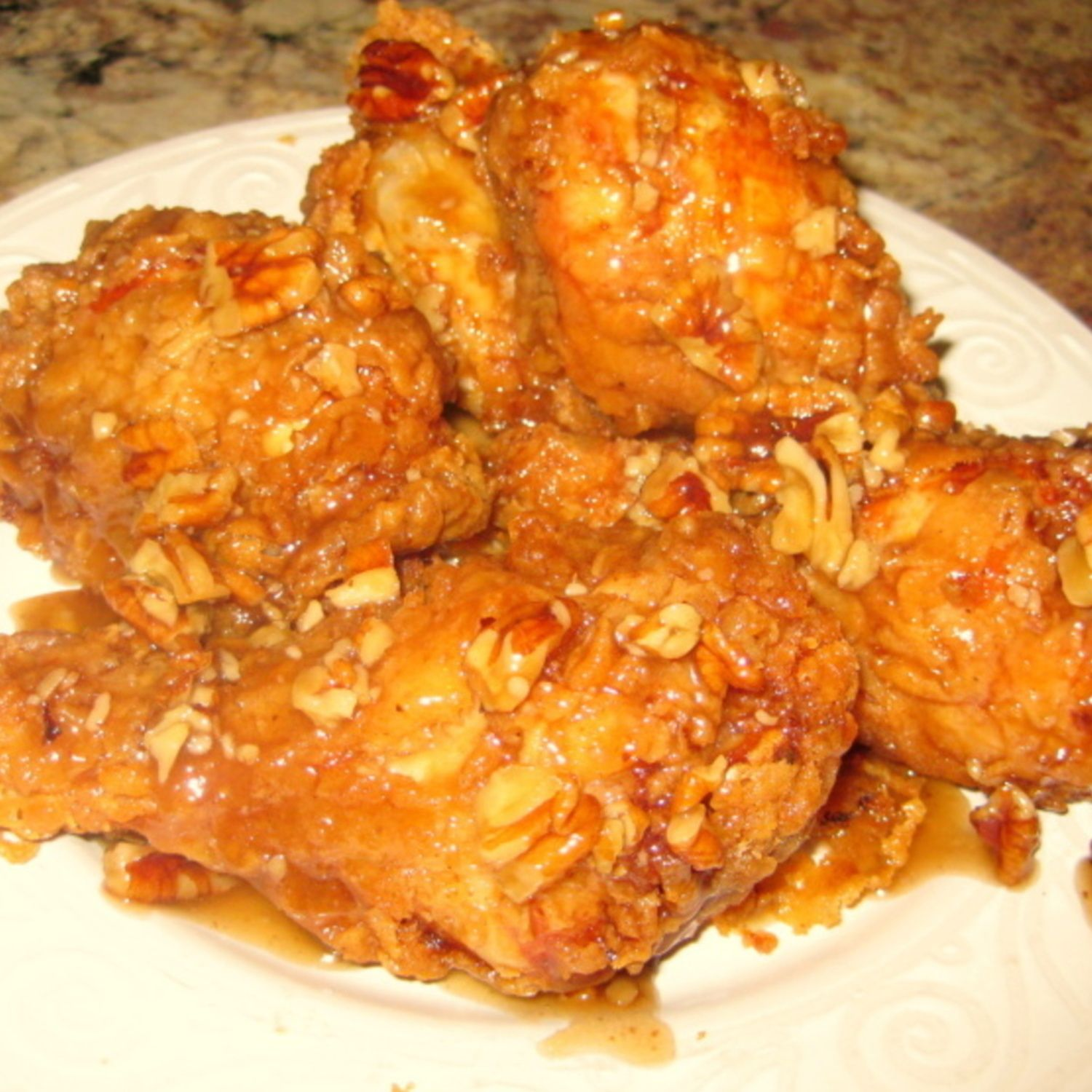 Honey Pecan Glazed Fried Chicken