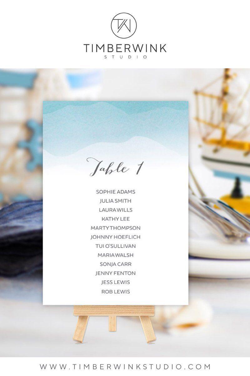 Beach wedding seating plan printable template instant