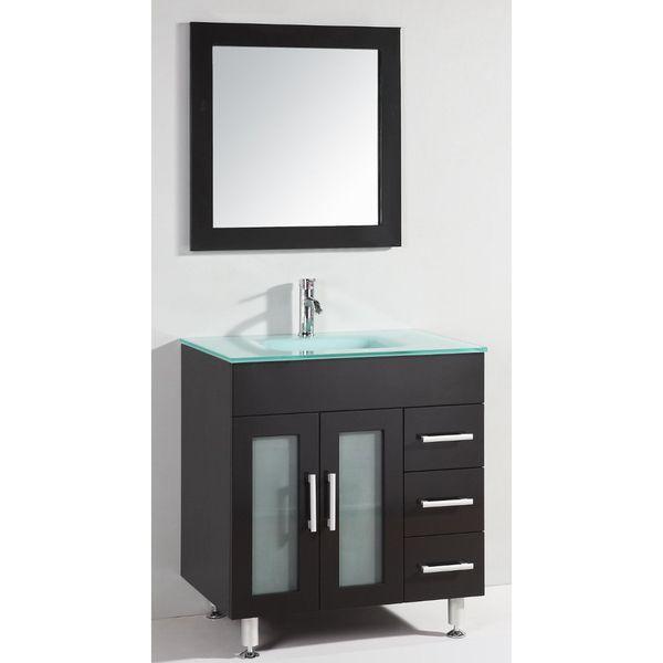 Glass Top 32-inch Single Sink Bathroom Vanity with Mirror by Legion