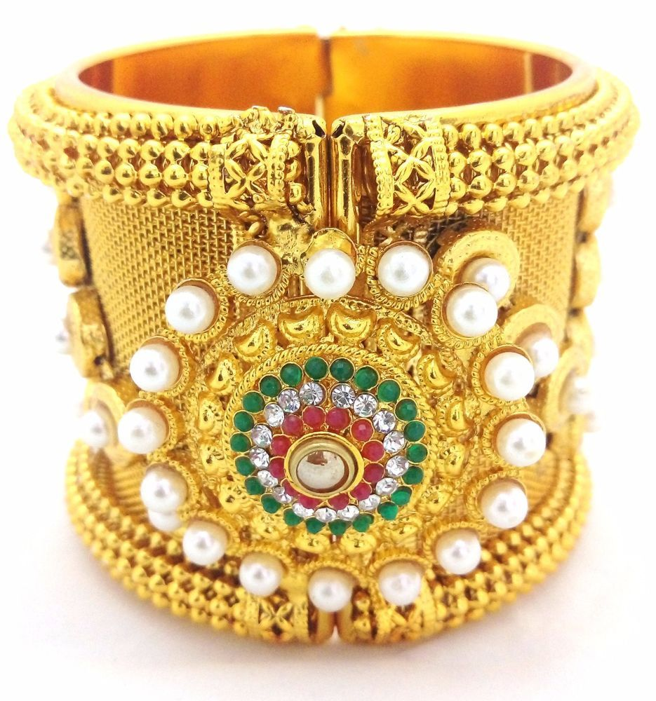 Gold Plated Bollywood Cz Pearl Traditional Bridal Ethnic Indian ...