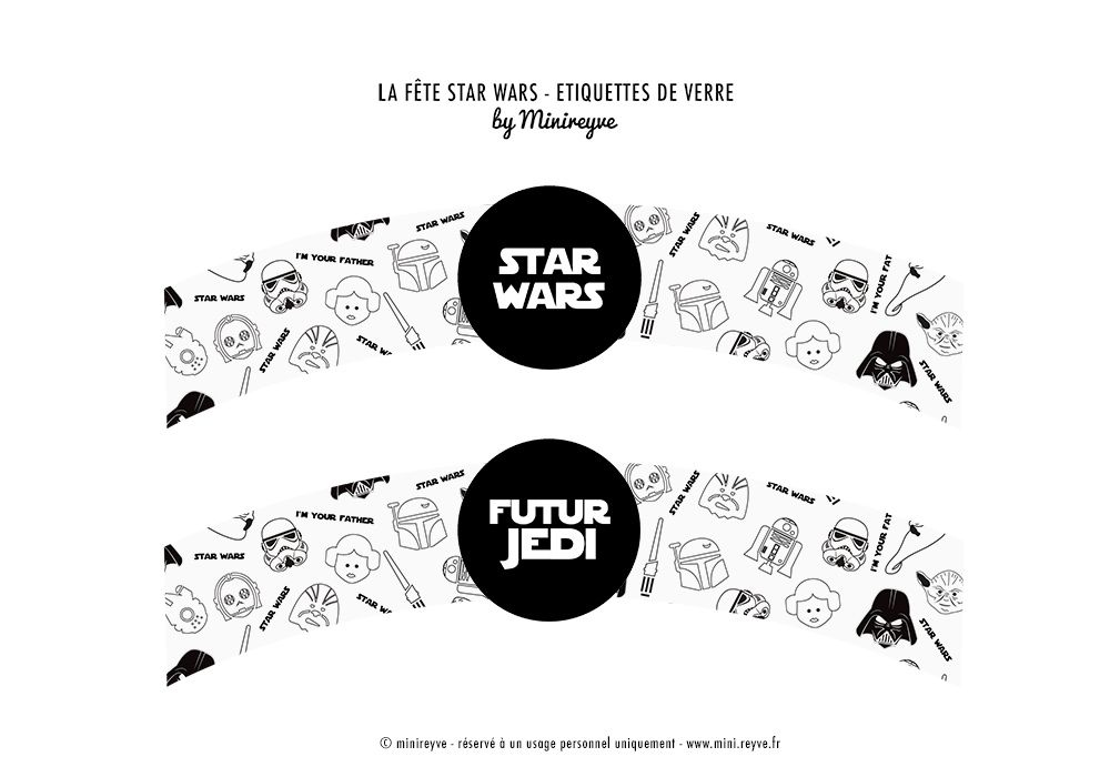 tiquettes de verre star wars