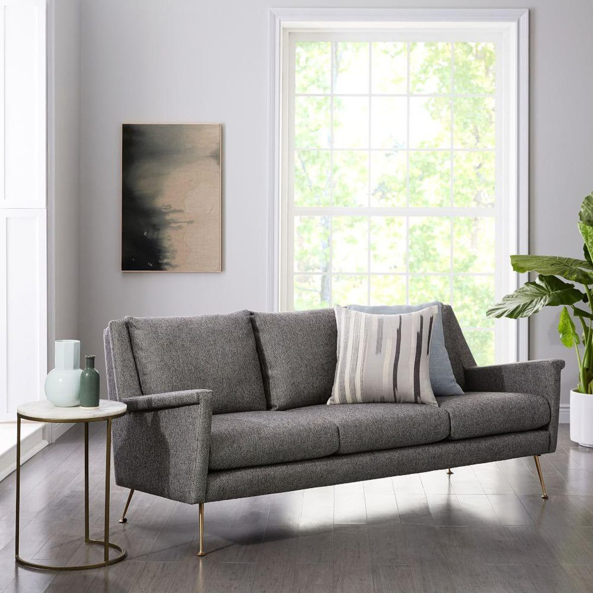 Carlo MidCentury Sofa Granite (197 cm) west elm UK