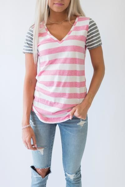 Callie Striped Tee - Pink & Charcoal   Shop the look #Fashion #Style #Tshirt #Stripes #ad