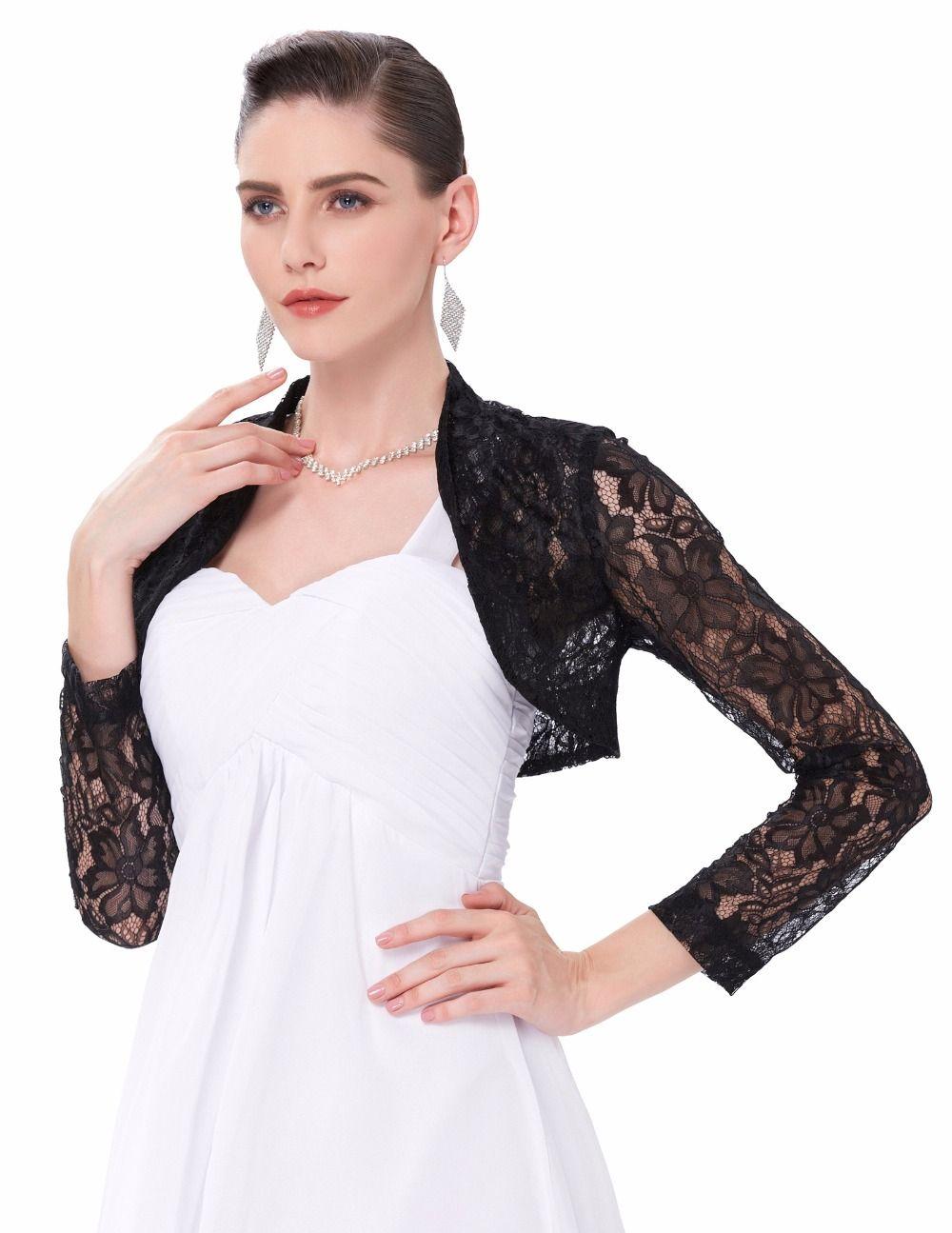 70b3dbe8554 Sexy Lace Jacket Womens Ladies Long Sleeve Cropped Shrug Black White Coat  2017 Plus Size Fashion Lace Bolero Outerwear Coats  Affiliate