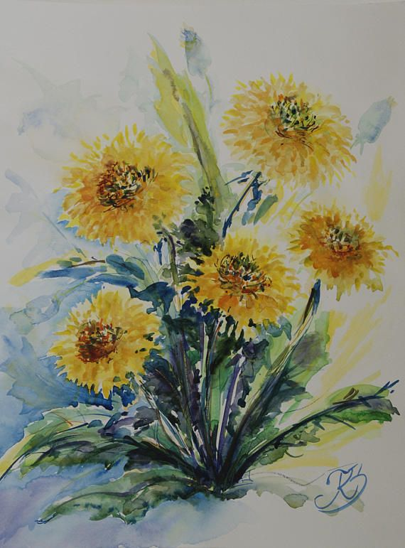 Dandelions floral watercolor painting yellow flowers art art dandelions floral watercolor painting yellow flowers art mightylinksfo