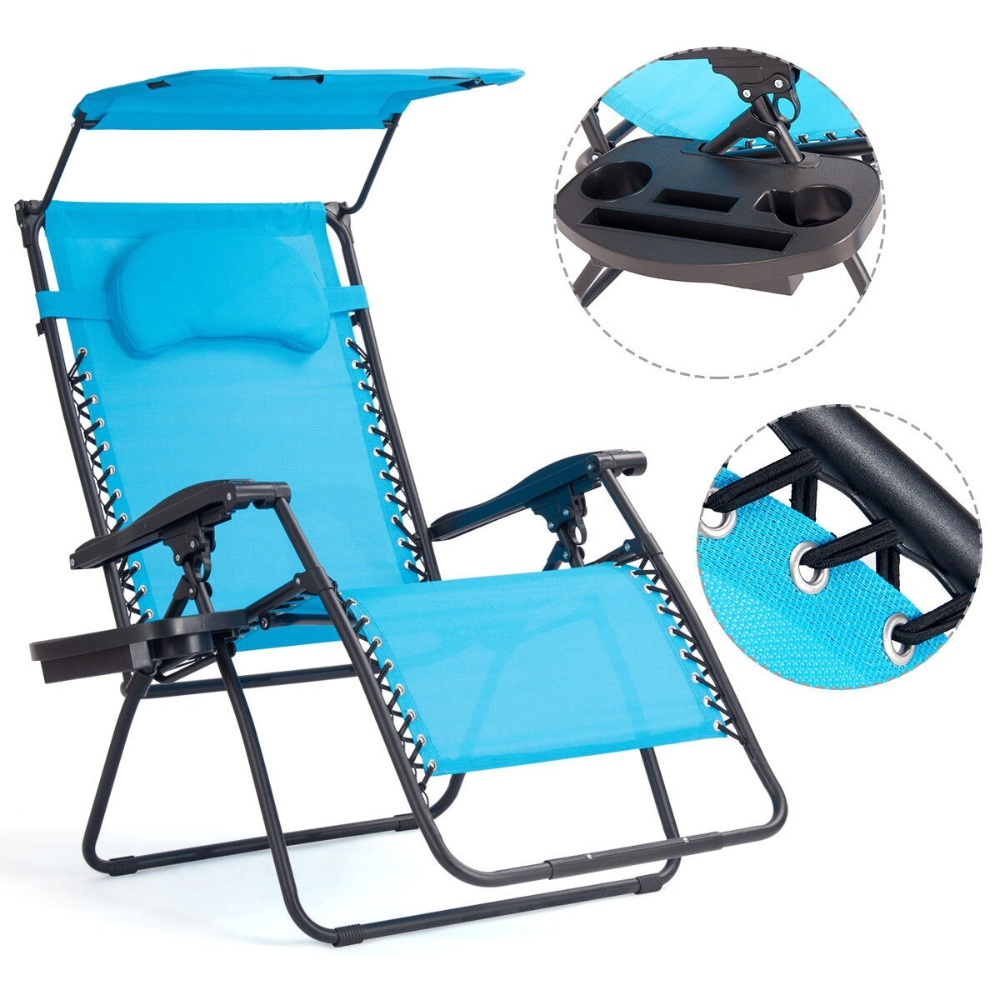 Gymax Folding Recliner Zero Gravity Lounge Chair W/ Shade