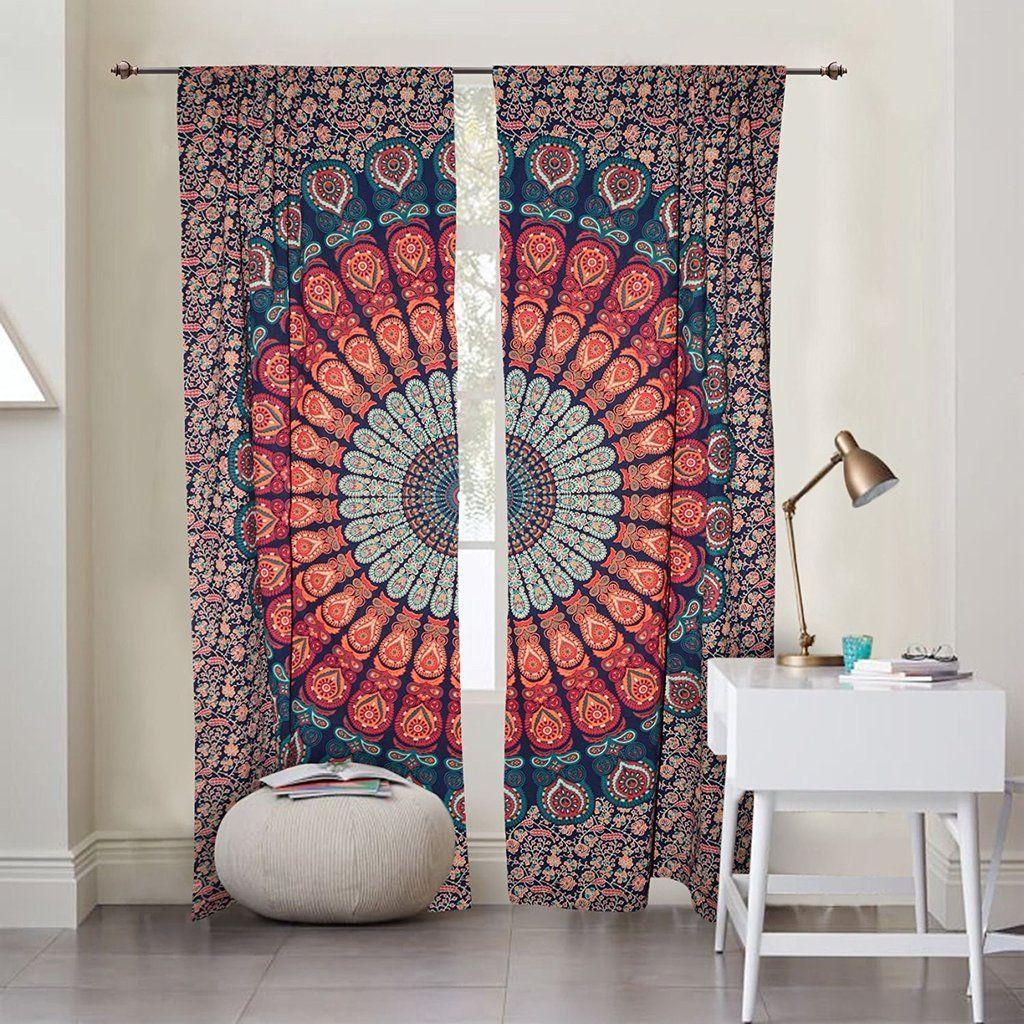 Hanging Drapes peacock mandala door curtains indian cotton window hanging drapes