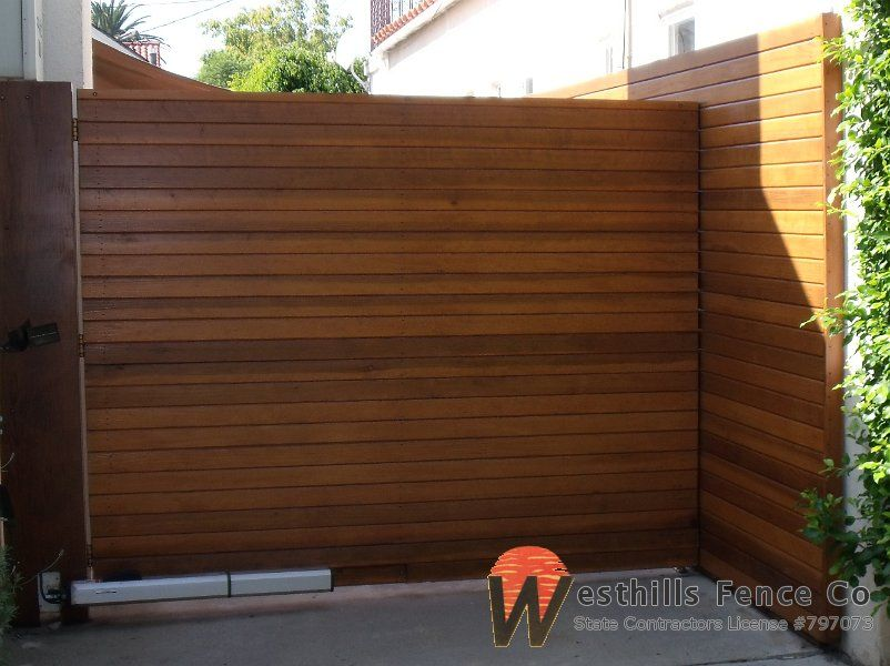 Charming Horizontal 1x4 Redwood Fence