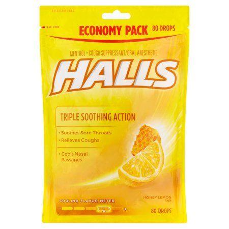 Halls Triple Soothing Action Cough Drops Honey Lemon 80 Ct