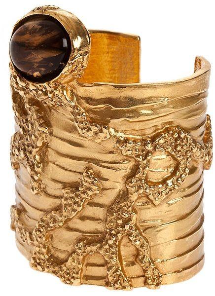 8df885b73fc936 Yves Saint Laurent Wide Cuff Bracelet in Gold - Lyst | David Zyla's ...