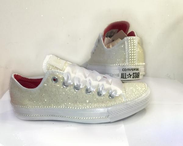 Sparkly Ivory Glitter Mono Converse All Stars Pearls Bride Bridal Wedding GLITTER SHOE CO