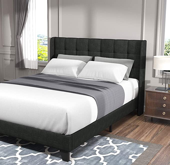 Amazonsmile Allewie Queen Bed Frame Platform Bed With Fabric Upholstered Square Stitched Wingbac Full Size Bed Frame Wingback Headboard Upholstered Bed Frame Cheap queen bed frames and headboards