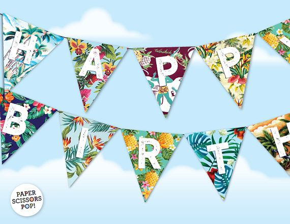 Hawaiian Birthday Banner Tropical Birthday Garland Hawaiian Shirt Patterns Printable Tropical Garland Hawaiian Party Decor Custom Banner