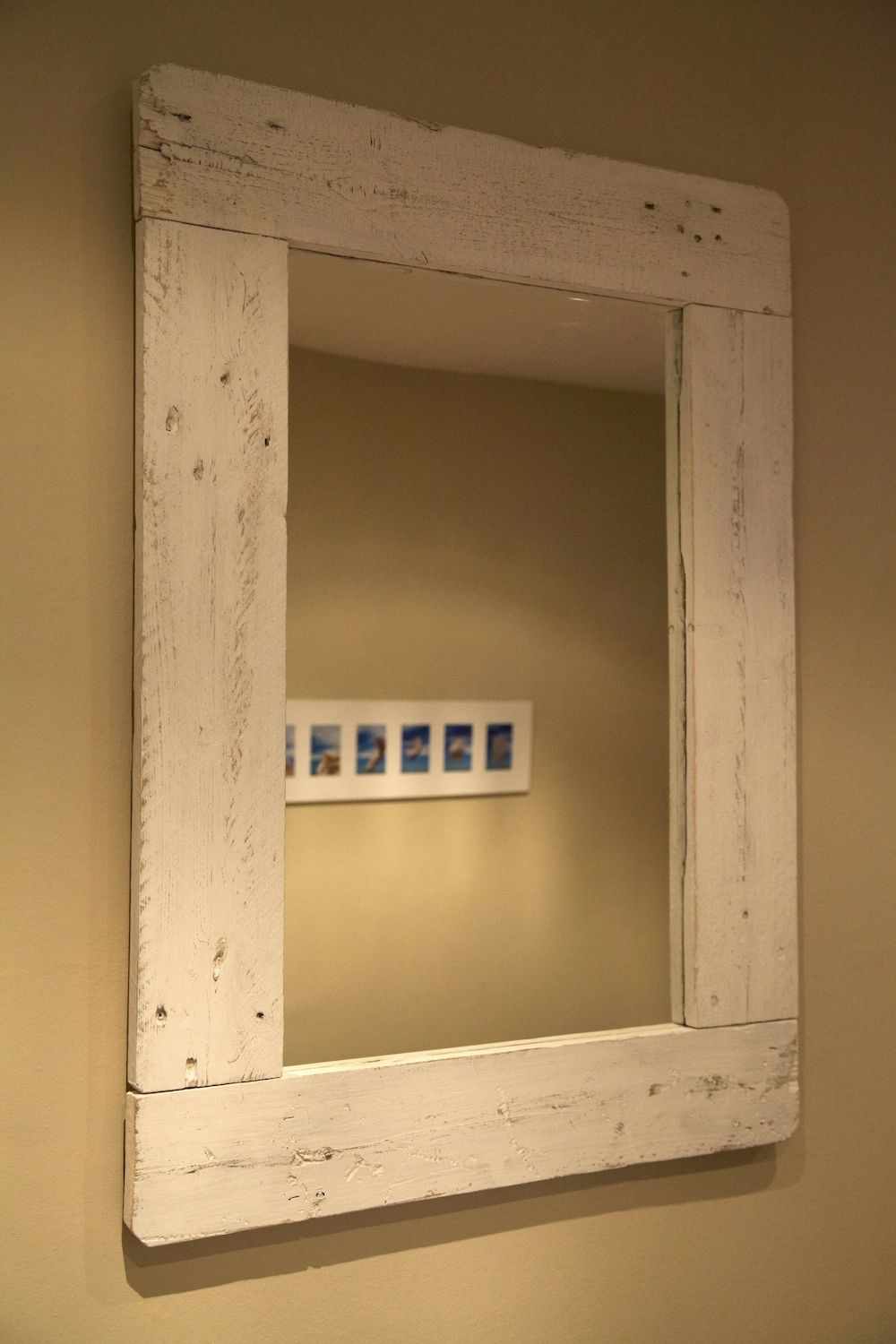 Mirror made with recycled pallet espejo hecho con palet for Espejo bano vintage