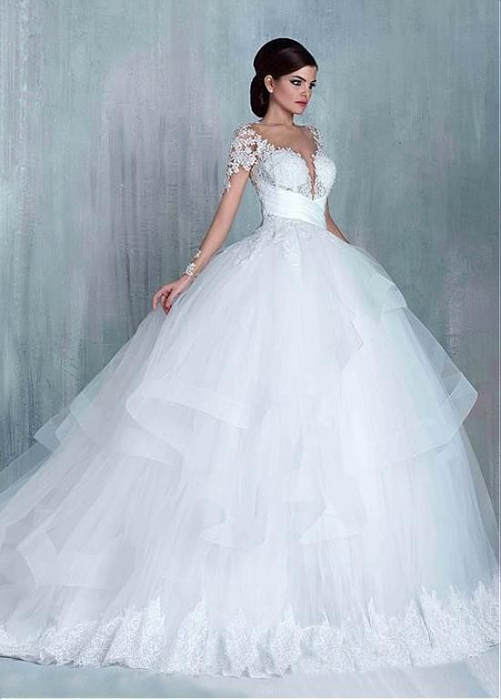 Buy discount Charming Tulle Bateau Neckline Ball Gown Wedding ...