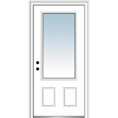 Mmi Door 32 In X 80 In Classic Right Hand Inswing 3 4 Lite Clear 2 Panel Primed Steel Prehung Front Door On 4 9 16 In Frame Z0365270r House Design Prehung Doors Aluminum Screen Doors
