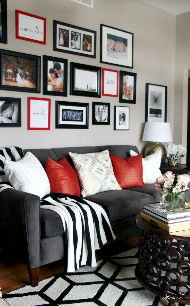 75 Luxury Apartment Living Room In Black And White Style Ideas Grey And Red Living Room Red Living Room Decor Living Room White #red #black #and #white #living #room #decor