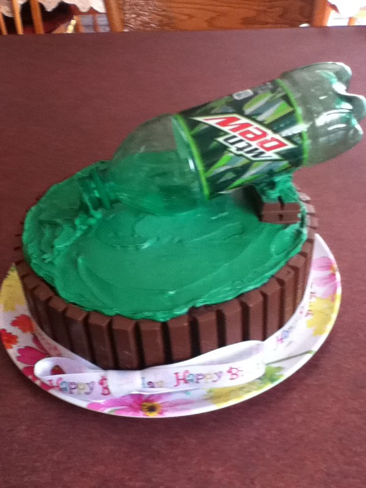 Made this for my best friend!! Mountain Dew cake