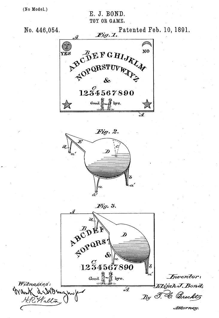 Ouija board patent application