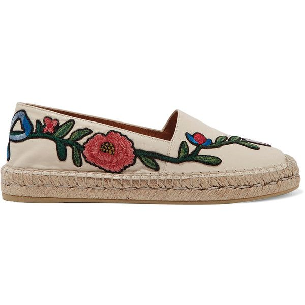 Gucci Embroidered leather espadrilles (€460) ❤ liked on Polyvore featuring shoes, sandals, espadrilles, leather espadrille sandals, slip on shoes, slip on espadrilles, slip-on shoes and gucci shoes