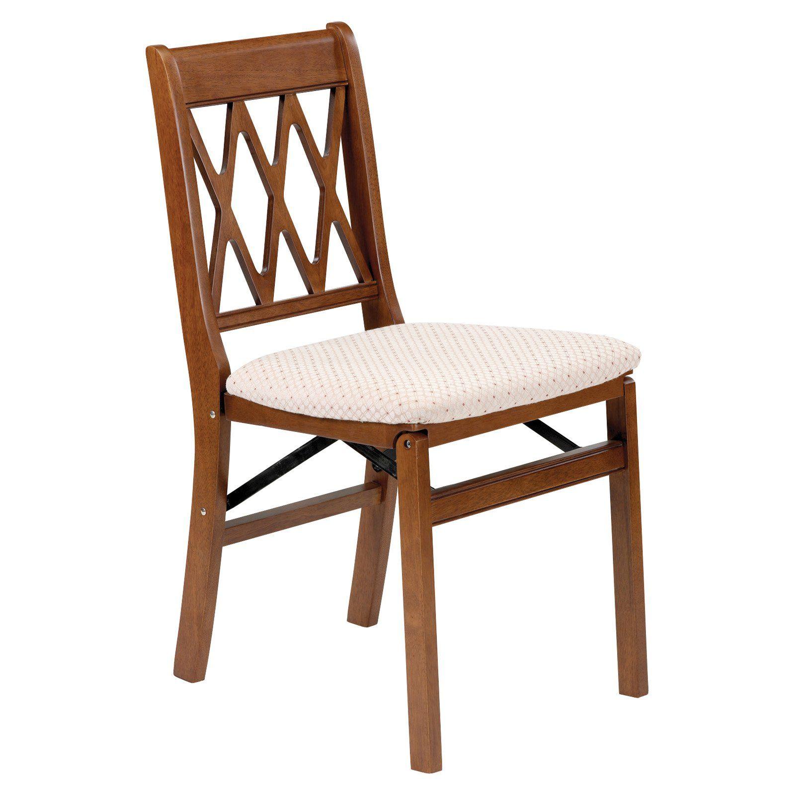 Stakmore Lattice Back Upholstered Folding Chair Set Of 2 Wood